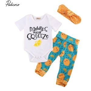 Other - Daddy's main squeeze baby girl outfit. 6-9 mo.